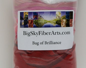 Cherry Bomb Bag of Brilliance 4 Ounces Extra fine merino wool roving, merino tussah, tussah, locks, nylon roving for felting, spinning