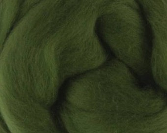 Two Ounces Extra Fine Merino Wool Roving, Color Ivy