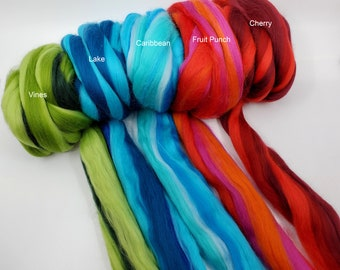 Multicolored Merino 2 Ounces 21 Microns for felting, spinning, and fiber arts