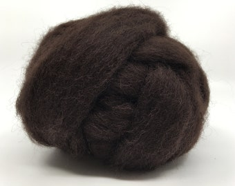 Mocha Bulky Carded Corriedale One Ounce for Needle Felting