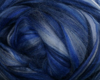 Two Ounces Extra Fine Merino Wool Roving Sugar Candy, Color Ocean