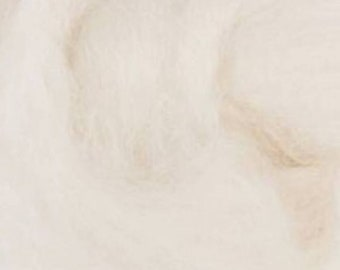 Two Ounces Extra Fine Merino Wool Roving, Color Natural White