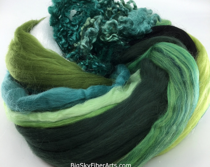 Featured listing image: Rainforest Bag of Brilliance 4 Ounces Extra fine merino, merino tussah, tussah, locks, and nylon roving for felting, spinning