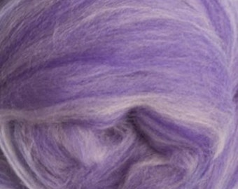 Two Ounces Extra Fine Merino Wool Roving Sugar Candy, Color Purple Waves for Felting and Spinning