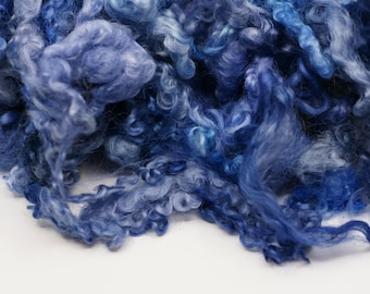 Hand Dyed Teeswater Locks One Ounce Royal Blue