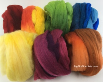 The Secret Garden Merino Collection 100 grams 19-micron merino roving in seven exquisitely dyed colors