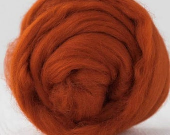 Two Ounces Extra Fine Merino Wool Roving Color Rust for Felting and Spinning