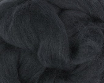 Two Ounces Extra Fine Merino Wool Roving, Color Graphite