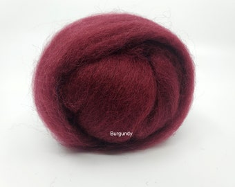 Burgundy Romney Wool Roving for Needle Felting One Ounce