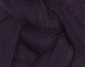 Two Ounces Extra Fine Merino Wool Roving, Color Blackberry