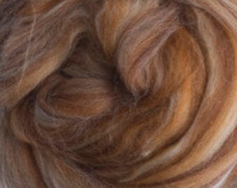 Mayan Chocolate Merino Tussah Silk Combed Top Wool Two Ounces for Felting and Spinning