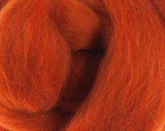 Two Ounces Extra Fine Merino Wool Roving, Color Pumpkin