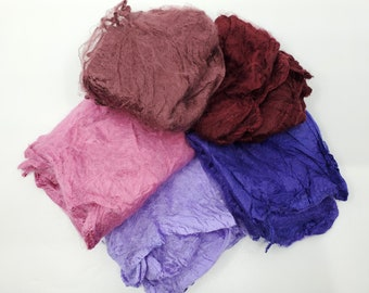 Hollyhocks Mawata Silk Hankies Collection 25 Grams for Felting, Spinning, Paper Making, Silk Fusion, and More!