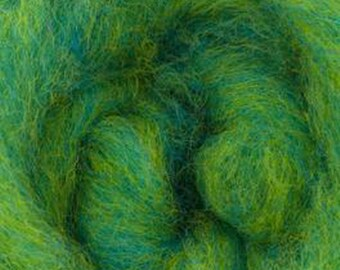 Lemon Lime Bulky Carded Corriedale One Ounce for Needle Felting