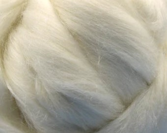 White Merino Tussah Silk Combed Top Wool Two Ounces for Felting and Spinning