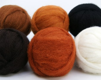 Warm Brown Carded Corriedale Collection, Six Colors, Six Ounces for Needle Felting