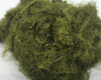 Olive Professionally Dyed Recyled Sari Silk Waste