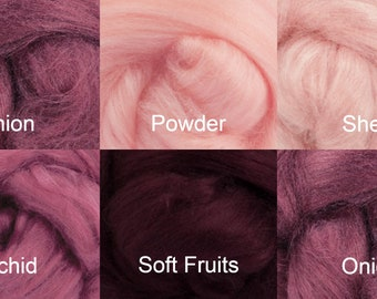 Pinks Tussah Silk Top One Ounce Color  For Felting or Spinning