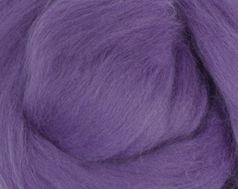 Two Ounces Extra Fine Merino Wool Roving, Color Violet
