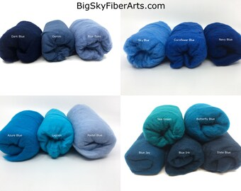 Blue Shades Carded Merino Batting for Needle and Wet Felting 50 Grams