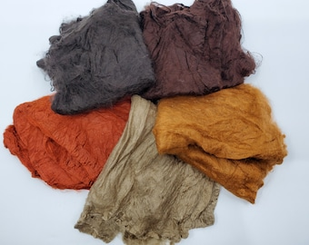 Landscape Mawata Silk Hankies Collection 25 Grams for Felting, Spinning, Paper Making, Silk Fusion, and More!