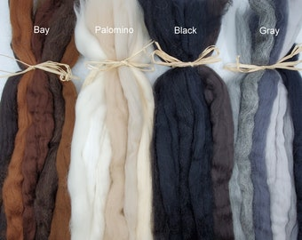 Mane and Tail Wool Roving Collection for Needle and Wet Felting Horses and Animals