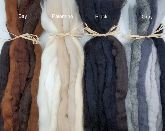Featured listing image: Mane and Tail Wool Roving Collection for Needle and Wet Felting Horses and Animals