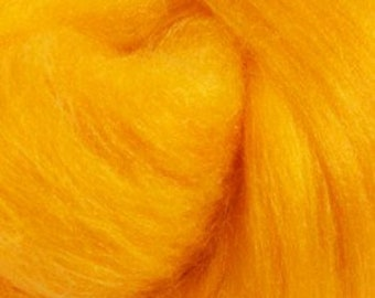 Two Ounces Extra Fine Merino Wool Roving, Color Yolk