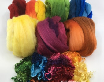 Deluxe Secret Garden Merino Collection 100 grams 19-micron merino roving in seven exquisitely dyed colors with assorted wensleydale locks