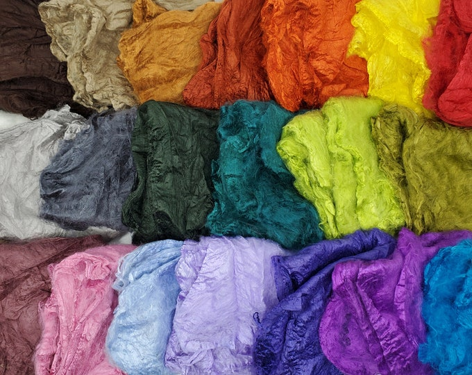 Featured listing image: Mawata Silk Hankies 5 Grams for Felting, Spinning, Paper Making, Silk Fusion, and More!