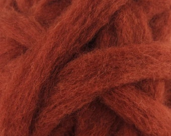 Rust Bulky Carded Corriedale One Ounce for Needle Felting
