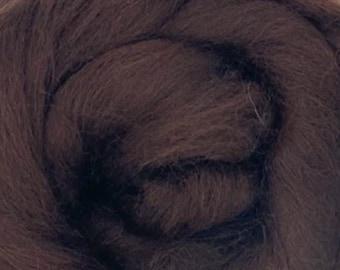 Mocha Corriedale 2 oz World of Wool Roving for Felting Spinning Fiber Arts