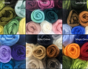 Tussah Silk Collection 10 Colors 50 Grams for felting, spinning, paper making, silk paper