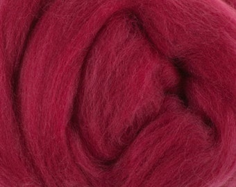 Two Ounces Extra Fine Merino Wool Roving, Color Raspberry