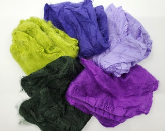 Iris Mawata Silk Hankies Collection 25 Grams for Felting, Spinning, Paper Making, Silk Fusion, and More!