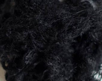 Black Professionally Dyed Recyled Sari Silk Waste