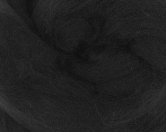 Black Merino Tussah Silk Combed Top Wool Two Ounces for Felting and Spinning