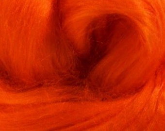 Tussah Silk Top One Ounce Color Orange For Felting or Spinning
