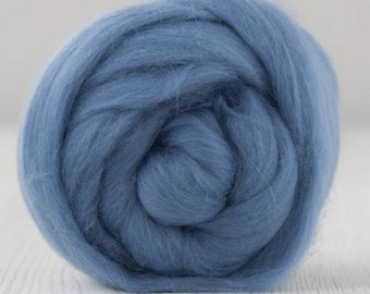 Two Ounces Extra Fine Merino Wool Roving, Color Jeans