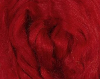 Tussah Silk Top One Ounce Color Fire For Felting or Spinning