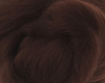 Two Ounces Extra Fine Merino Wool Roving, Color Chocolate