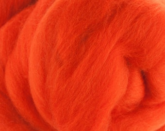 Two Ounces Extra Fine Merino Wool Roving, Color Orange