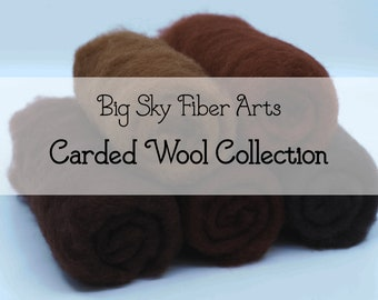 Carded New Zealand Wool Collection Rich Brown for Wet and Dry Felting, short fiber