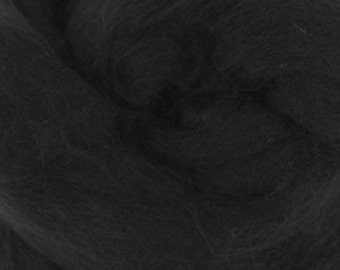Two Ounces Black Extra Fine Merino Combed Top Wool for Felting and Spinning