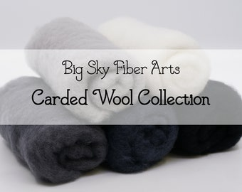 Carded New Zealand Wool Collection - Snowy Mountain - for Wet and Dry Felting, short fiber