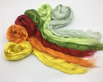Flower Garden Mulberry Silk Two Ounces - silk for spinning,felting, silk fusion, paper making, doll hair