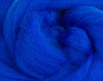 Royal Blue Corriedale Wool Roving Two Ounces for Felting and Spinning