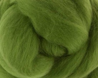 Two Ounces Extra Fine Merino Wool Roving, Color Leaf