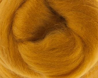 Two Ounces Extra Fine Merino Wool Roving, Color Saffron