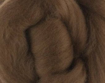 Two Ounces Extra Fine Merino Wool Roving, Color Nut